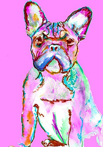 French Bulldog Wall Art Decor, Frenchie Owner Gift, Frenchy Dog Memorial, Abstract Pet Nursery Art, Colorful Gift For Her Hand Signed By Pet Portrait Artist Oscar Jetson Choice Of Sizes 8x10 11x14. - Dog portraits by Oscar Jetson
