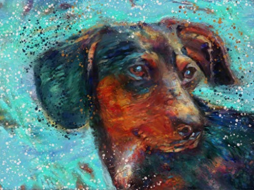 Dachshund Doxie Wiener Dog Wall Art Decor, Dog Memorial, Abstract Dog Picture Gift Choice of Sizes Hand Signed by Dog Portrait Artist Oscar Jetson. - Dog portraits by Oscar Jetson