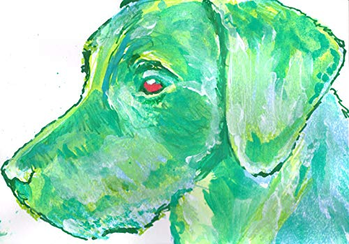 Abstract Green Labrador Wall Art Print, Colorful Labrador Dog Art, Lab Owner Gift, Lab Dog Decor, Labrador Retriever Painting Print Choice of Size Hand Signed by Artist Oscar Jetson. - Dog portraits by Oscar Jetson
