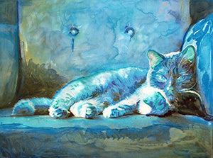 Blue Cat Art, Colorful Cat Wall Print, Cute Tabby Cat, Cat Owner Gift, Kitten Wall Art Print, Colorful Cat Mom Gift, Cat Lover Wall Decor hand signed - Dog portraits by Oscar Jetson
