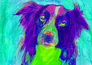 Border Collie Art Print, Collie Doig Wall Art Decor, Colorful Abstract Purple Green Collie Dog Gift, Collie Owner, Collie Dog Painting, Border Collie Wall Art Print, Signed by Oscar Jetson - Dog portraits by Oscar Jetson