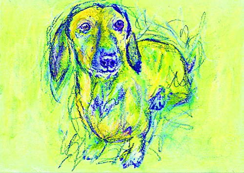 Colorful Dachshund Dog Wall Art Print, Dog Art, Doxie Nursery art, Gift for Dachshund Owner, Yellow Blue Doxie Art, Colorful Dog Painting - Dog portraits by Oscar Jetson