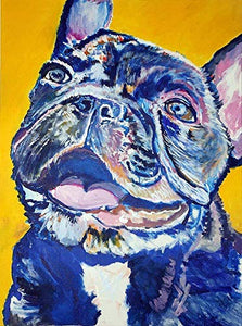 French Bulldog Wall Art Print, Frenchie Mom Gift, French Bulldog Memorial Artwork, Colorful Dog Picture Choice Of Sizes Hand Signed By Pet Portrait Artist Oscar Jetson - Dog portraits by Oscar Jetson