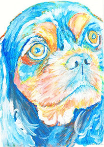 King Charles Spaniel Gifts, King Charles Spaniel Art - Abstract King Charles Cavalier Spaniel Orange, Spaniel Art, Spaniel Gifts for Women, Spaniel Mum Painting, Modern Dog Wall Art - Dog portraits by Oscar Jetson