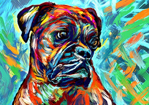 Boxer Dog Art Print, Colorful Boxer Dog Owner Gift, Dog Wall Art Print, Boxer Dog Decor Hand Signed Boxer Mom Gift by Oscar Jetson - Dog portraits by Oscar Jetson