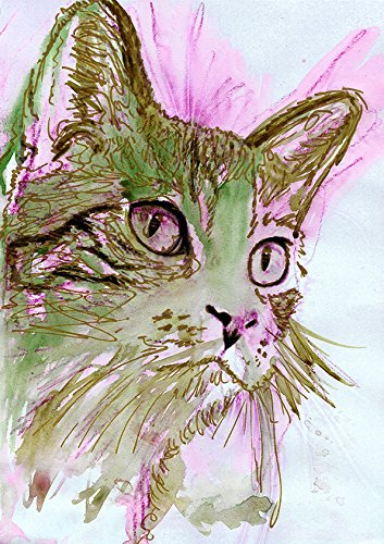 Colorful Cat Art Print, Pink and Green Abstract Cat Wall Print, Cute Cat Gift, Cat Mom, Kitten Home Decor Print, Modern Cat Art Gift, Cat Lover Wall Decor hand signed by Oscar Jetson - Dog portraits by Oscar Jetson