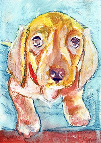 Labrador puppy Art, Colorful Lab owner Wall Art Print, Gift For Lab Mom, Lab Dog Print, Orange Lab Puppy, Labrador Retriever Dog Art Print, Labrador Dog Painting Art print signed by Oscar Jetson - Dog portraits by Oscar Jetson