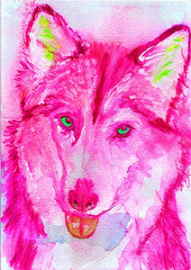 Pink Husky Art Print, Colorful Siberian Husky Artwork, Gift For Husky Mom, Pink Dog Wall Art Print - Dog portraits by Oscar Jetson