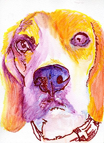 Beagle Wall Art Print, Colorful Beagle Gift, Beagle Owner, Beagle Dog Artwork, Dog Print, Colorful Beagle Dog Painting Home Decor Signed by Oscar Jetson - Dog portraits by Oscar Jetson