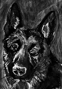 German Shepherd Art Print, German Shepherd Owner Gift, Black German Shepherd Artwork, GSD Gift, Alsatian Dog Art, Dog Decor, Signed Art Print by Oscar Jetson - Dog portraits by Oscar Jetson