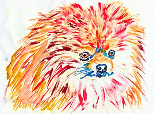 Pomeranian Do Art, Colorful Pomeranian Dog Nursery Art, Pomeranian Dog Decor, Gift for Pomeranian Owner, Pomeranian Mom, Colorful Orange and Blue Modern Art Print - Dog portraits by Oscar Jetson