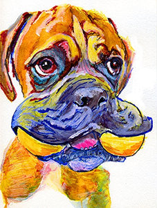 Cute Boxer Dog Wall Art, Yellow Boxer Dog Puppy Owner Gift Idea, Boxer Dad Art, Colorful Boxer Dog Wall Decor, Hand Signed Boxer Dog Fine Art Print - Dog portraits by Oscar Jetson