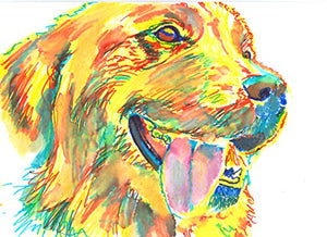 Happy Golden Retriever Wall Art, Gift for Golden Retriever Owner, Goldie Mom, Golden Retriever Art, Golden Retriever Wall Art Print, Colorful Wall Hanging Dog Art - Dog portraits by Oscar Jetson