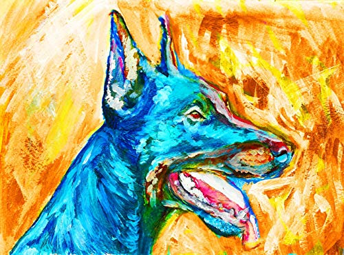 Abstract Doberman Wall Art Print, Colorful Dobie Dog Owner Gift, Dog Nursery Artwork, Dobie Dog Painting Decor Hand Signed By Pet Portrait Artist Oscar Jetson Choice Of Sizes - Dog portraits by Oscar Jetson