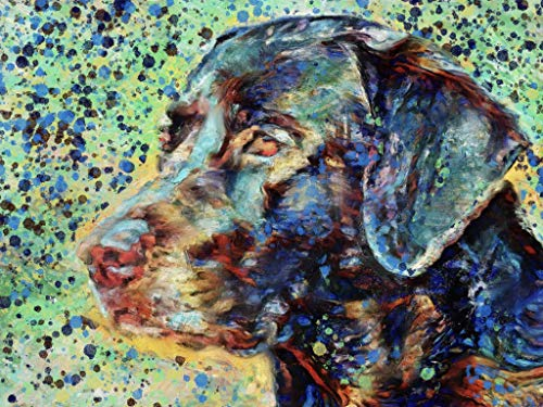 Colorful Labrador Dog Wall Art Decor, Lab Dog Memorial, Abstract Dog Picture Gift Choice of Sizes Hand Signed by Dog Portrait Artist Oscar Jetson. - Dog portraits by Oscar Jetson