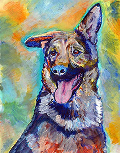 German Shepherd Wall Art Print, Colorful GSD Artwork, Dog Owner Gift, Dog Memorial Gift, Abstract Painting Nursery Decor, Hand Signed By Pet Portrait Artist Choice Of Sizes 8x10, 11x14, 12x16 - Dog portraits by Oscar Jetson