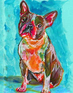 Boston Terrier Art, Boston Terrier Gift, Wall Art Print, Modern Boston Terrier Nursery Art, Boston Terrier Owner Gift, Dog Art Print, Colorful Dog Painting signed by Oscar Jetson - Dog portraits by Oscar Jetson