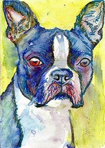 Blue Boston Terrier Wall Art Print Colorful Boston Terrier Nursery Art, Boston Terrier Owner Gift, Dog Art Print, Abstract Boston Terrier Pop Art - Dog portraits by Oscar Jetson