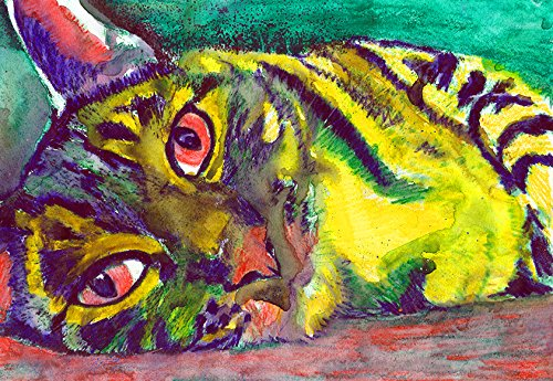 Cat Painting Wall Art Print, Colorful Abstract Tabby Cat Art, Cat Owner Gift, Kitten Wall Art Print, Colorful Cat Gift, Cat Decor hand signed by Oscar Jetson - Dog portraits by Oscar Jetson