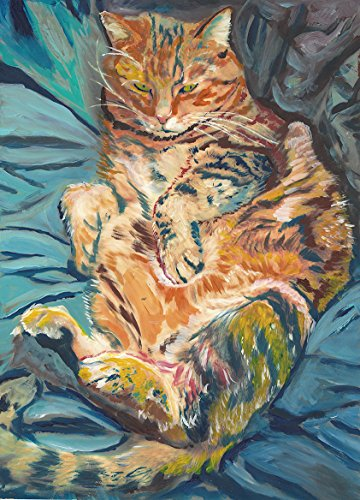 Cat Painting Wall Art Print, Ginger Tabby Cat Art, Cat Owner Gift, Kitten Wall Art Print, Colorful Lazy Cat Gift Wall Decor - Dog portraits by Oscar Jetson