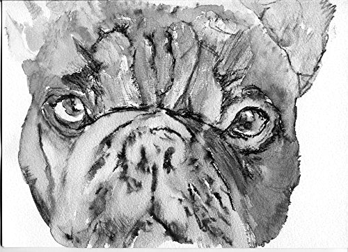 French Bulldog Painting Art Print, Black and White Frenchie Artwork, French Bull Owner Gift, Frenchie Dog, Frenchy Mom Decor - Dog portraits by Oscar Jetson