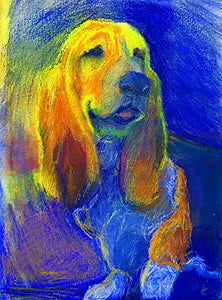 Basset Hound Art. Pastel Painting Print, Colorful Basset Hound Art, Basset Hound decor, Basset Hound Dog Picture, Dog Wall Art Print, Colorful Blue Yellow Basset Hound Mom Gift - Dog portraits by Oscar Jetson