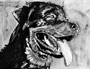 Rottweiler Owner Art Print, Rottweiler Dog Breed Painting , Rottie Owner Gift, Rottie Dog Art Print, Colorful Rottweiler Mom Decor Black and White. - Dog portraits by Oscar Jetson