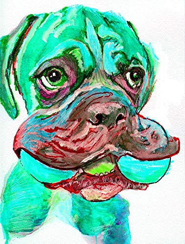 Boxer Dog Wall Art Print, Dog Breed Gift Idea, Dog Memorial Hand Signed Watercolor Reproduction Print Choice of Sizes Hand Signed by Pet Portrait Artist Oscar Jetson. - Dog portraits by Oscar Jetson