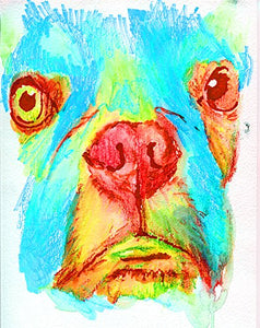 French Bulldog Art Print, Blue Turquoise Red, Frenchie decor, Gift for Frenchie Owner, French Bulldog Decor, French Bulldog Pop Art Print, Wall Hanging Blue French Bulldog Mom Decor - Dog portraits by Oscar Jetson