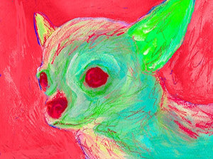Chihuahua Wall Art Print, Colorful Abstract Chihuahua Painting, Chihuahua Mom, Dog Artwork, Gift For Chihuahua Lover, Colourful Chihuahua Art Print Signed by Oscar Jetson - Dog portraits by Oscar Jetson