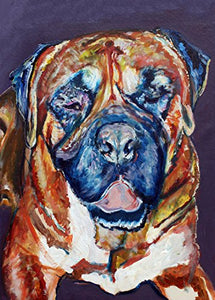 Bull Mastiff Art Print, Bull Mastiff Gifts, Mastiff dogs, Dog painting Wall Art Bull mastiff decor hand signed by Oscar Jetson - Dog portraits by Oscar Jetson