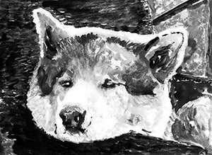 Akita Inu Wall Art, Black and Whitel Akita Art, Akita Owner Gift, Akita Dog painting, Minimalist Akita Dog Painting Decor - Dog portraits by Oscar Jetson