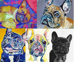 "5 Prints ""The Frenchie Collection"" Hand Signed French Bulldog Art, French Bulldog Gift for Frenchie Owner, French Bulldog Art, Frenchie Wall Art, Frenchie Gift Idea, French Bulldog Painting prints - Dog portraits by Oscar Jetson"