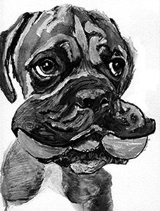 Boxer Dog Puppy Art, Boxer Dog Owner Gift, Boxer Dog With Toy Artwork, Black and White Boxer Dog Wall Art Print, Boxer Dog Owner Decor Hand Signed by Oscar Jetson - Dog portraits by Oscar Jetson
