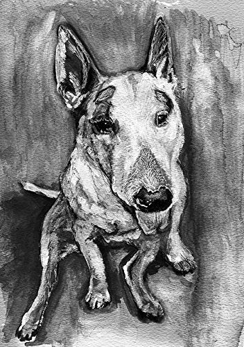 English Bull Terrier Art, Monochrome Dog Art, Bull Terrier Portrait Gift, English Bull Terrier Dog Mom Painting Wall Hanging Decor - Dog portraits by Oscar Jetson