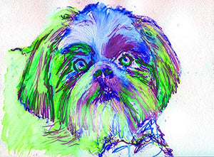Lhasa Apso Art Print, Lhasa Apso Home Decor, Lhasa apso gifts, Lhasa Apso Painting, Lhasa Apso Dog Mom Colorful Modern wall art Green - Dog portraits by Oscar Jetson