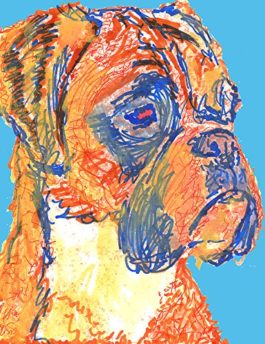 Colorful Boxer Dog Wall Art, Gift For Boxer Dog Owner, Boxer Mom Art, Blue Boxer Dog Wall art, Boxer Dog Line Art Decor - Dog portraits by Oscar Jetson