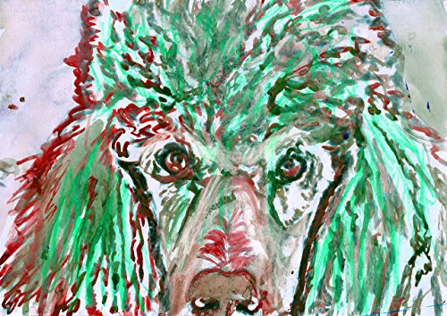 Poodle Gift Idea, Poodle Dog Wall Art Print, Dog Art, Poodle Mom, Poodle Nursery art, Gift for Poodle Owner, Turquoise Red Standard Poodle Art, Colorful Dog Painting - Dog portraits by Oscar Jetson