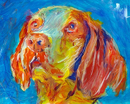 Brittany Spaniel Painting Wall Art Print, Brittany Spaniel Dog Art, Brittany Spaniel Owner Gift, Dog Wall Art Print, Colorful Dog, Brittany Spaniel Gift - Dog portraits by Oscar Jetson