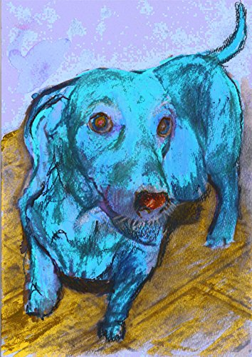 Dachshund Gift, Blue Dachshund Dog Art Print, Colorful Dachshund Dog Gift, Doxie Nursery art, Gift for Doxie Owner, Dog Wall Art Print, Abstract Happy Dog Painting by Oscar Jetson - Dog portraits by Oscar Jetson