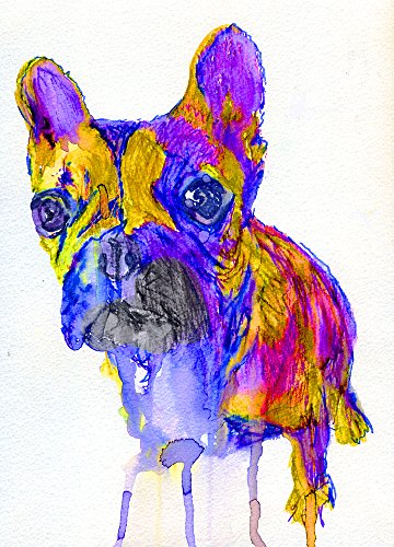 Abstract French Bulldog Art Print, Frenchie Owner Gift, Bulldog Mom Gift, French Bulldog Art, Frenchie Decor, Colorful French Bulldog Wall Hanging Print - Dog portraits by Oscar Jetson