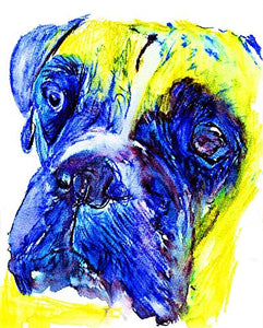 Expressive Boxer Dog Art Print, Dog Owner Gift Idea, Boxer Memorial Abstract Decor Art, Choice of Size Hand Signed by Dog Portrait Artist Oscar Jetson. - Dog portraits by Oscar Jetson