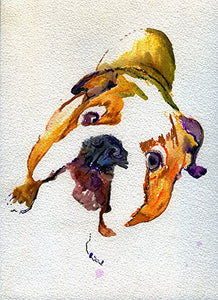 Cute English Bulldog Wall Art Print, Bulldog Art, Colorful Bulldog Owner Gift, English Bulldog Watercolor Art Print, Wall Hanging Bulldog Mom Decor - Dog portraits by Oscar Jetson