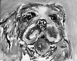 English Bulldog Painting Wall Art Print, Black and White, Classic Modern Grey Happy Cheerful English Bulldog owner Gift,, Print Signed by Oscar Jetson - Dog portraits by Oscar Jetson