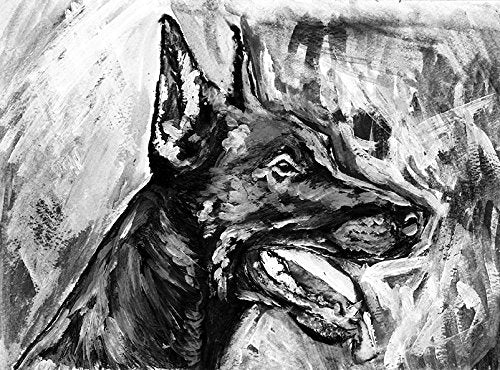 Abstract Doberman Wall Art, Black White DOBERMAN PINSCHER Dog Breed Abstract painting, Dog mom gift, Dobie owner Doberman Art Print - Dog portraits by Oscar Jetson