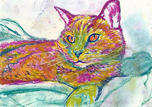 Multi-colored Cat Art, Colorful Pink and Green Cat Decor, Cute Tabby Cat, Cat Owner Gift, Kitten Wall Art Print, Cat Mom Gift, Cat Lover Wall Decor hand signed - Dog portraits by Oscar Jetson