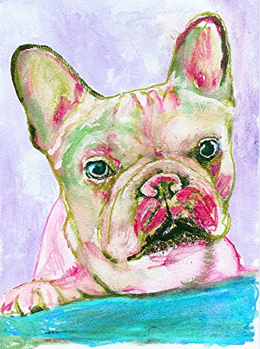 French Bulldog Wall Art,Rose Pink, Aquamarine Frenchie, Wall Hanging French Bulldog, Frenchie Owner, French Bulldog Artwork, French Bulldog Pop Art Print, Wall Hanging French Bulldog Mom Gift - Dog portraits by Oscar Jetson
