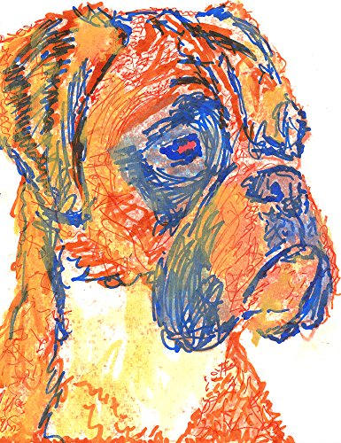 Expressive Boxer Dog Wall Art, Boxer Dog Owner Gift Idea, Boxer Mom Art, Blue Boxer Dog Wall art, Boxer Dog Line Art Decor - Dog portraits by Oscar Jetson