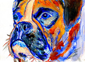 Orange Boxer Dog Art Print, Abstract Boxer Dog Gift, Boxer Dog Wall Art, Dog Wall Art Print, Boxer Dog Painting Decor - Dog portraits by Oscar Jetson
