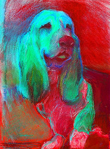 Colorful Basset Hound Wall Art, Red Green Basset Hound Decor, Gift for Basset Hound Mom, Basset Hound Dog Gift, Dog Wall Art Print, Basset Hound Artwork - Dog portraits by Oscar Jetson